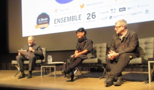De g. à d. Michel Guerrin, Nathalie Bondil et Jean-François Chougnet