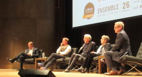 De g. à d. Emmanuel Davidenkoff, Normand Baillargeon, Michel Lussault, Lise Bissonnette et Brian Myles