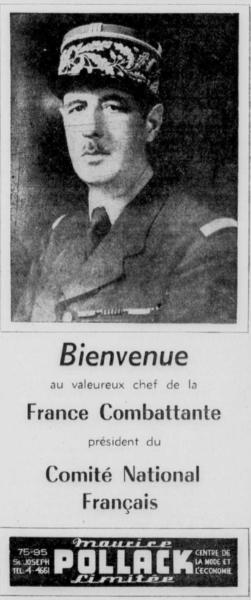 L'un des encarts de bienvenue publié dans les journaux. Cet encart a été publié dans Le Soleil, du 11 juillet 1944.