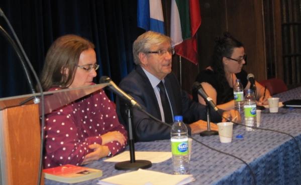 De g. à d. Josiane Lavallée, Denis Monière et Mélanie Boyer
