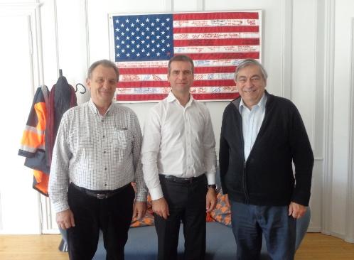 De g. à d. Christian Rouvreau, administrateur CFQLMC France, Hervé Blanché, Denis Racine