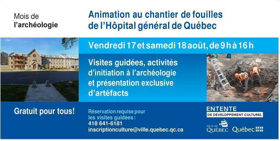 Animation au chantier de fouilles de l'Hôpital général de Québec