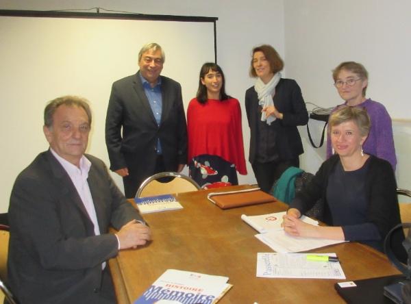assis: Christian Rouvreau et Carolyn Campbell-Bise. Debout: Denis Racine, Dorothée Scarwell, Ségolène Dubernet et Marie-Claude Levreault.