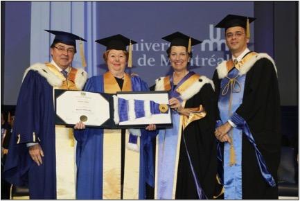 M. Guy Breton, recteur, Mme Francine Lelièvre, récipiendaire, Mme Louise Roy, chancelière, M. Alexandre Chabot, secrétaire général