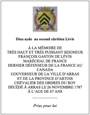 Plaque à la mémoire de François Gaston de Lévis (Texte)