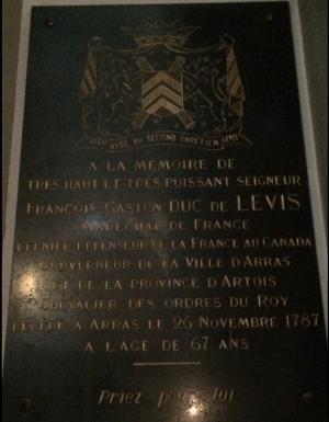 Plaque à la mémoire de François Gaston de Lévis