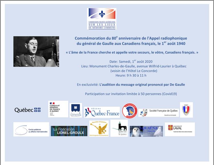 Commémoration du 80e anniversaire de l'Appel radiophonique du général de Gaulle aux Canadiens français, le 1er août 1940