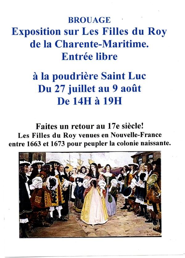 Brouage, du 27 juillet au 9 août, à la poudrière Saint Luc, exposition sur Les Filles du Roy de la Charente-Maritime