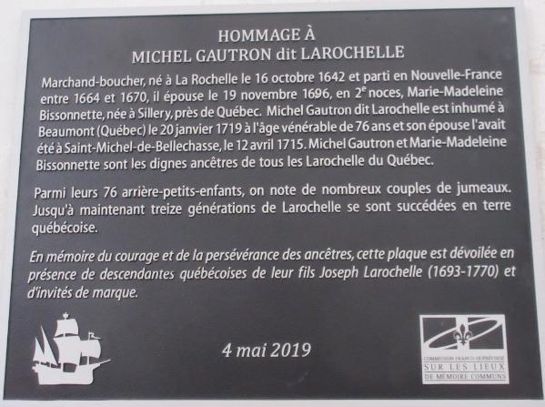 4 mai 2019 – Dévoilement de la plaque commémorative de la famille Gautron dit Larochelle à La Rochelle.