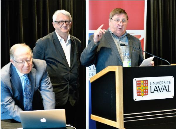 2 novembre 2019 : Roger Barrette secrétaire général, Laurier Turgeon conférencier et Marcel Fournier président du Comité de commémoration et responsable scientifique du colloque.